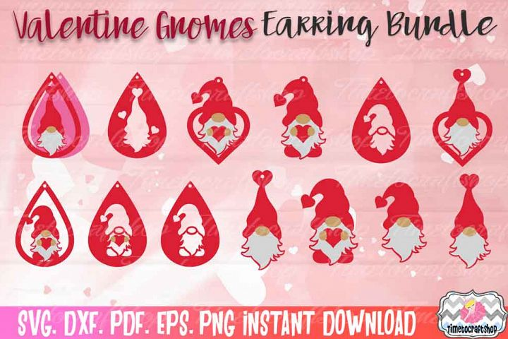 SVG, DXF, PDF, PNG, and EPS Valentine Gnome Earring Bundle