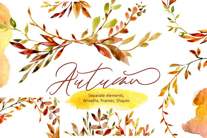 Watercolor Autumn Leaves & Branches