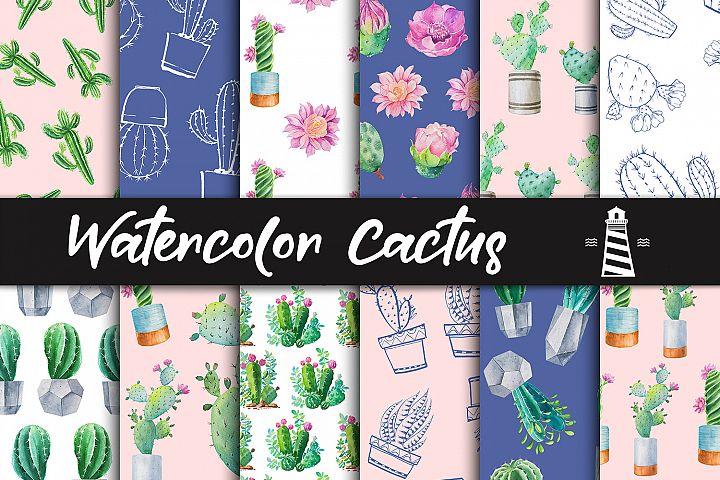 Watercolor Cactus Digital Paper