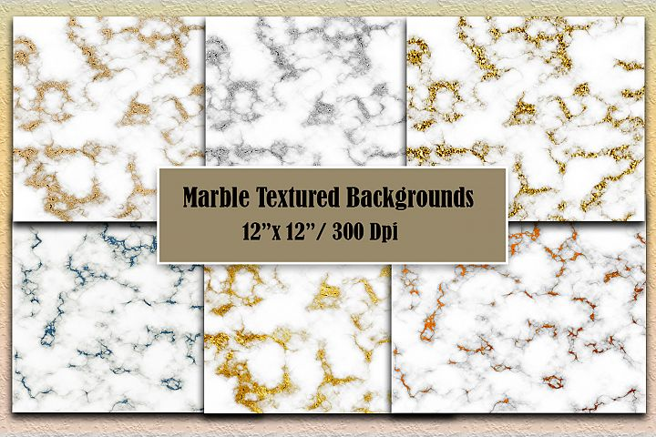 Marble textured. Digital paper pack