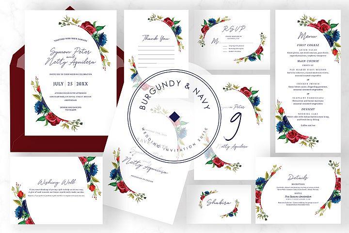 Burgundy & Navy Wedding Suite