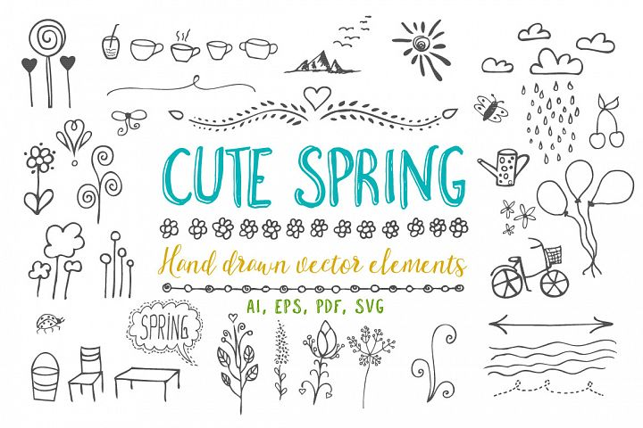Cute spring vector graphic elements part 1.