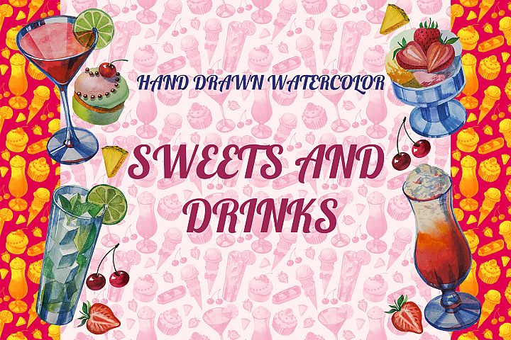 Hand drawn watercolor sweets and drinks