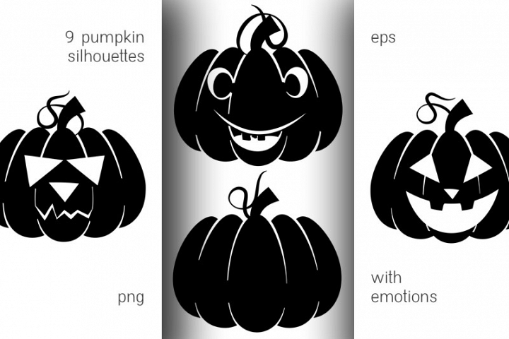 Silhouettes of pumpkins with emotions for Halloween
