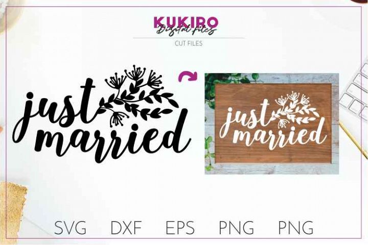 Just married SVG- Wedding cut files