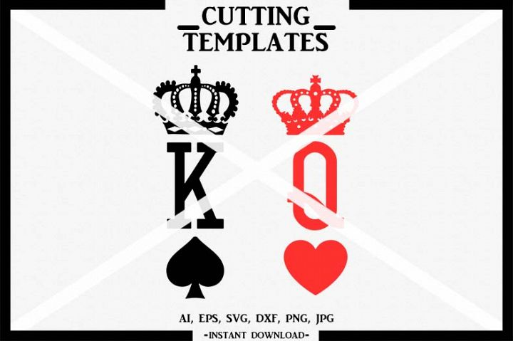 King & Queen, Silhouette, Cricut, Cut File, SVG, DXF, PNG