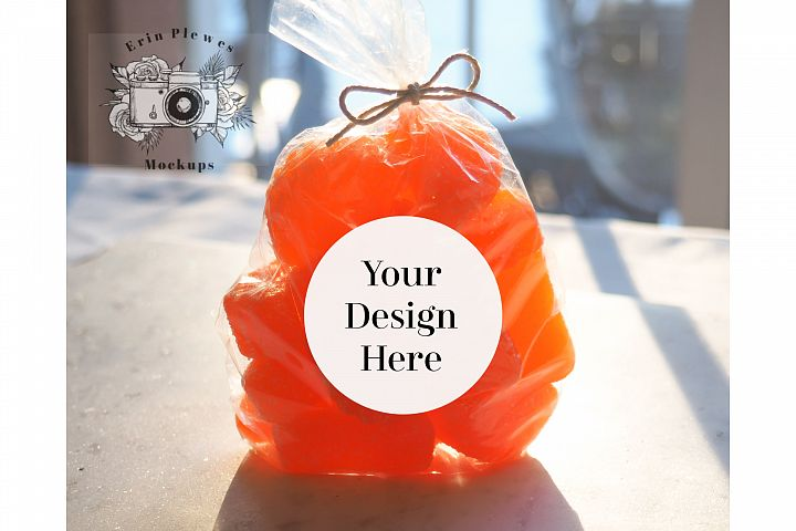 Sticker Mockup - Round Label Mock-up Birthday Gift Bag JPEG
