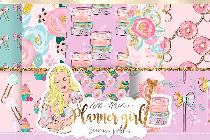 Planner girl Patterns digital papers
