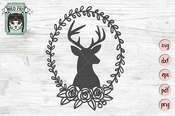 Deer SVG file, Deer Head Wreath Cut file, Deer Silhouette