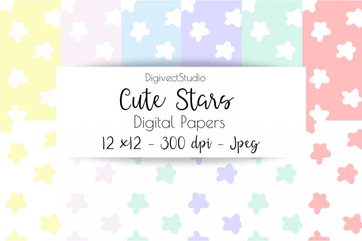 Cute Stars - Digital Papers for Scrapbooking / Planners