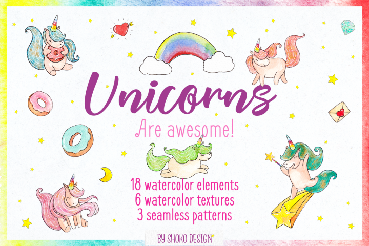 Unicorns Watercolor Set