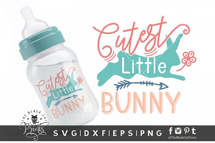 Cutest Little Bunny cut file | Kids Easter SVG DXF EPS PNG