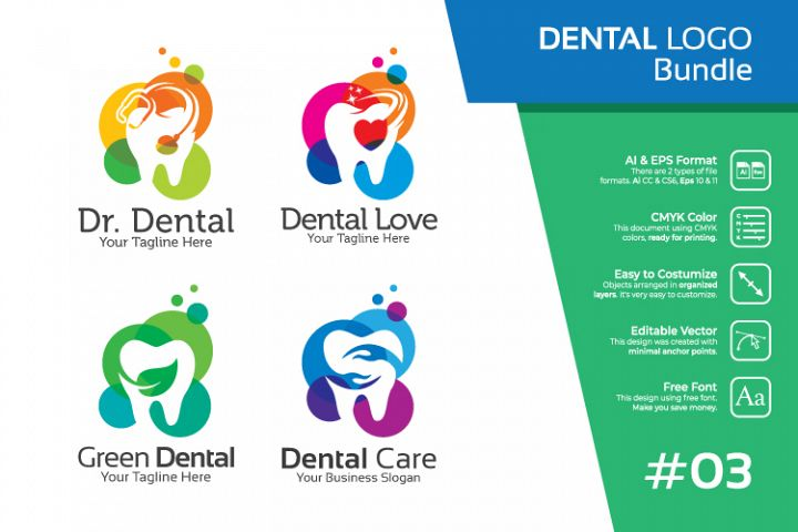 Set bundle logo - Dental and dentist bundle logo #3