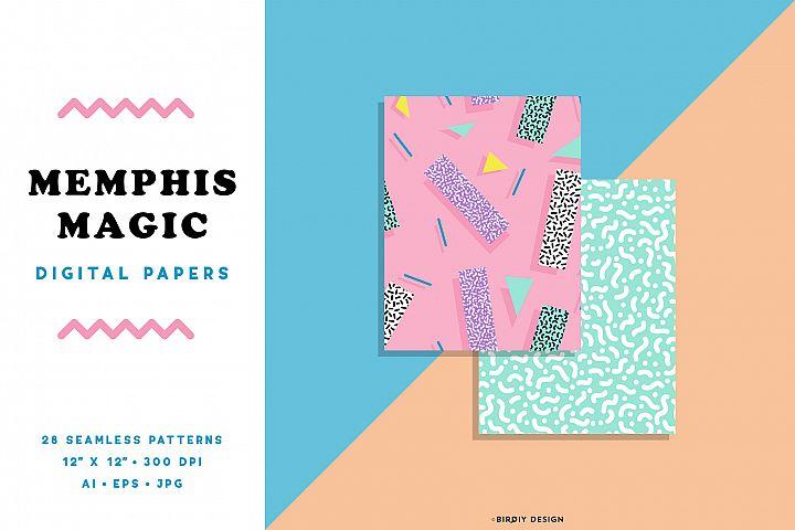 Memphis Magic 80s 90s Seamless Patterns