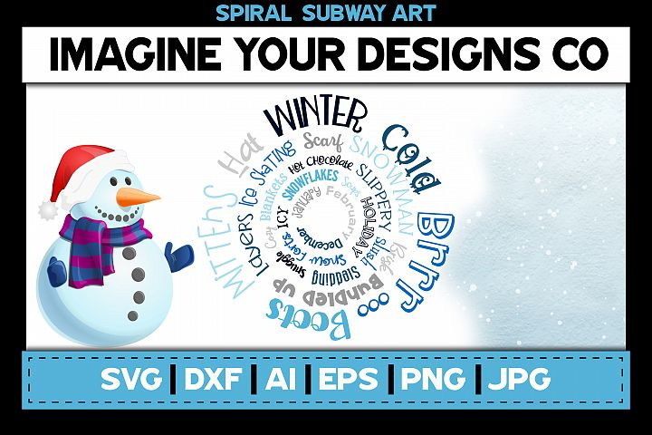 Winter Spiral Subway Art, SVG Cut File Sublimation