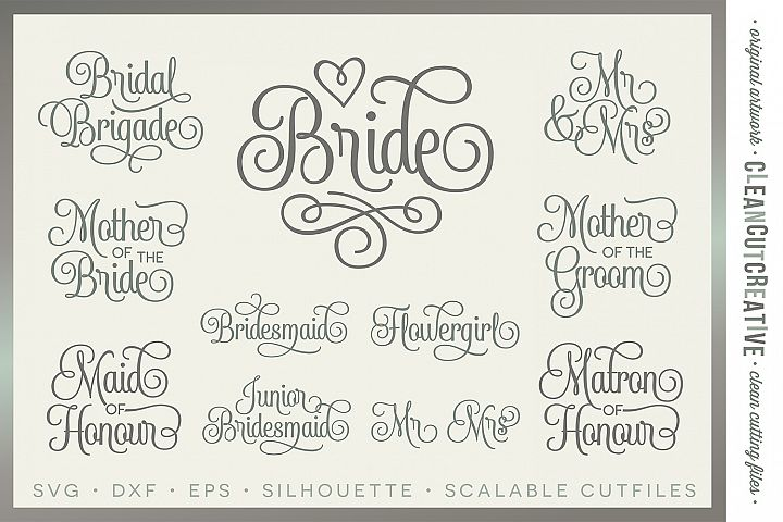 Bridal Party - Wedding Party UK/CA/AU spelling - SET of 11