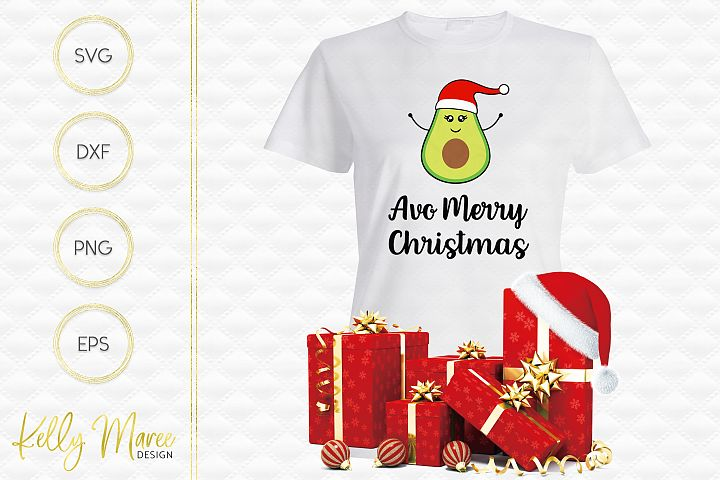 Christmas Avocado SVG File | Avo Merry Christmas example