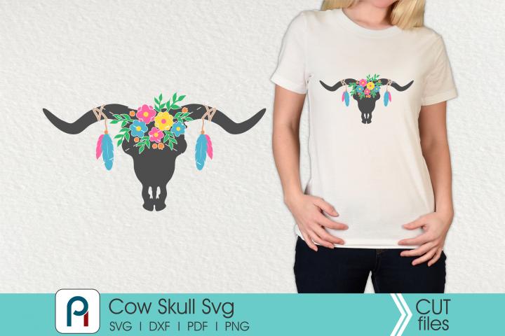 Cow Skull svg - a boho cow skull svg vector file