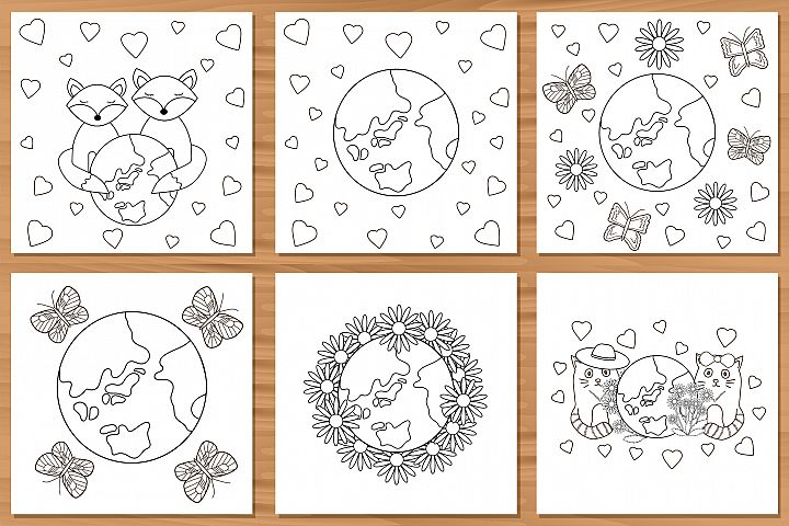 6 Cards with earth. Planet. Coloring pages.