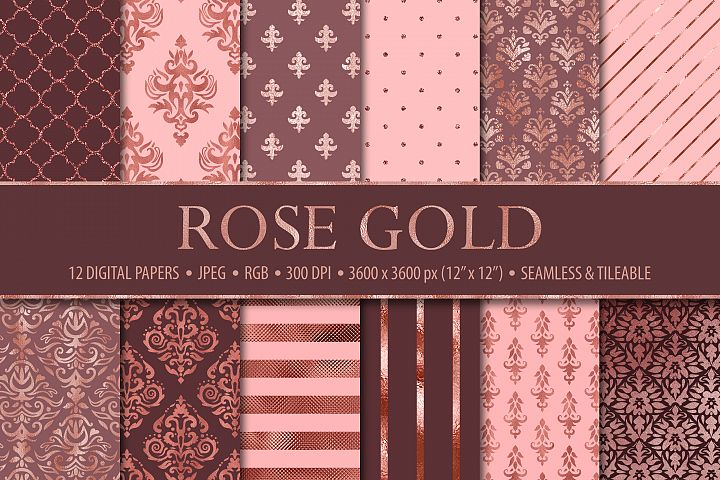 12 Rose Gold Damask & Geometric Patterns