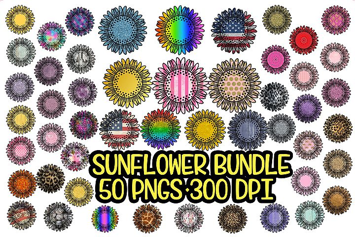 Sunflower - PNG - Sublimation Background Bundle- 50 Elements