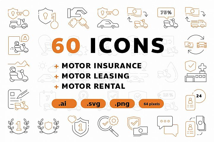 60 icons MOTOR INSURANCE