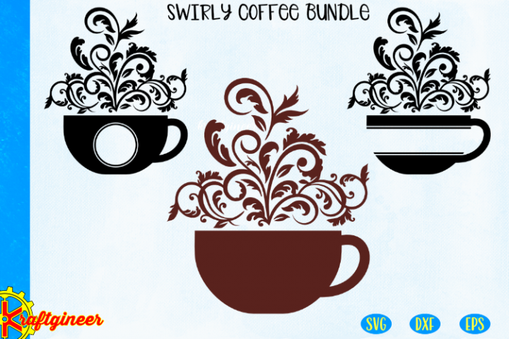 Swirly Coffee SVG Bundle, Swirly mug cut file Paradise Stron