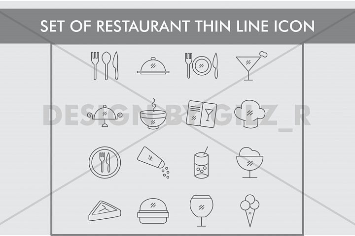 Set of Restaurant Thin Line Icons