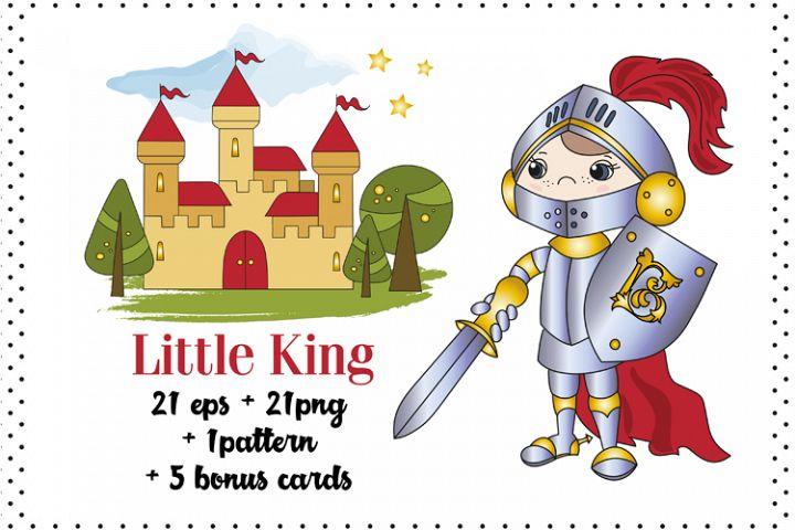 LITTLE KING Cartoon Color Vector Illustration Set