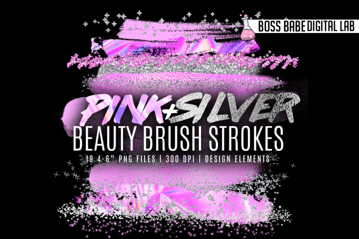 Pink and Silver Beauty Brush Strokes