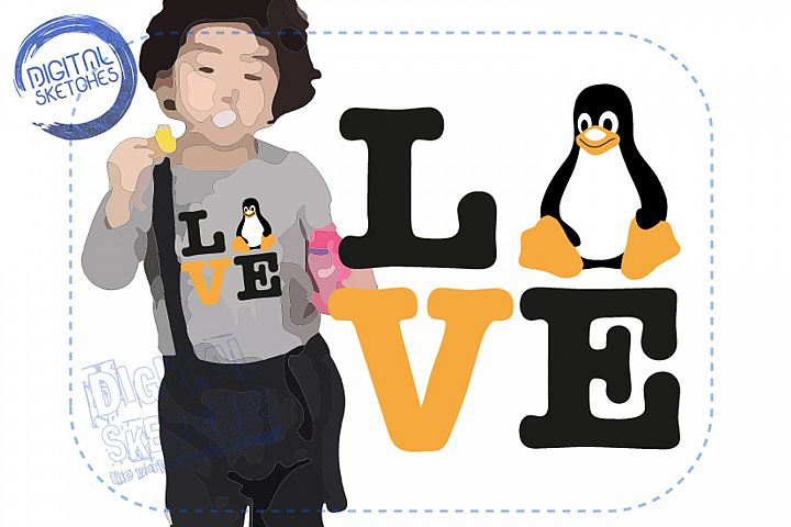 Illustration Tux Linux Penguin Saying Love Cut File Vector