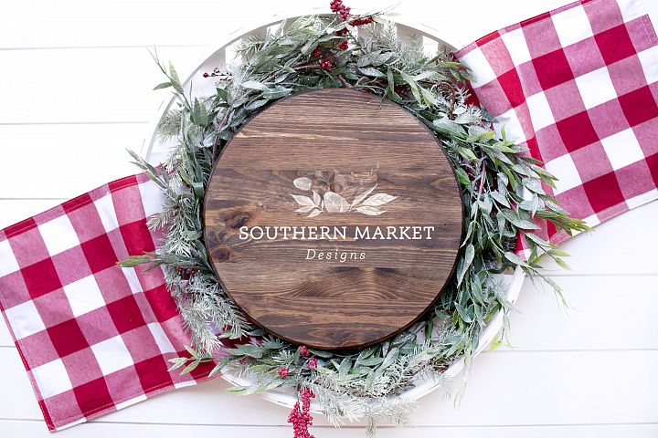 Christmas Wood Round Stained Sign Mock Up Styled Photography