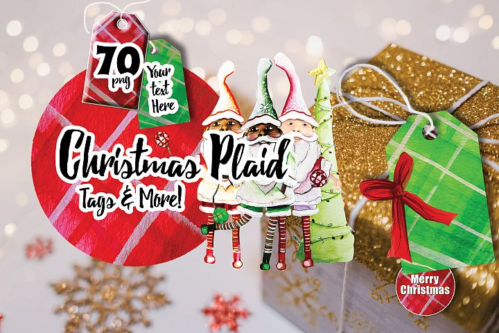 70 Christmas Plaid Tags & More