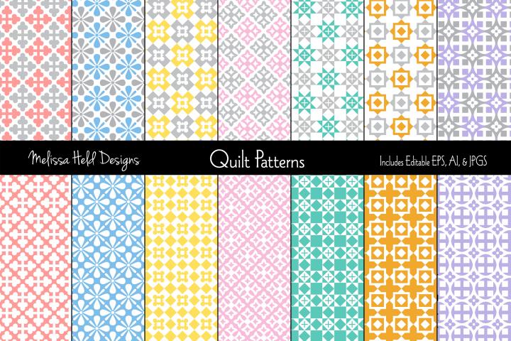Pastel Geometric Quilt Patterns