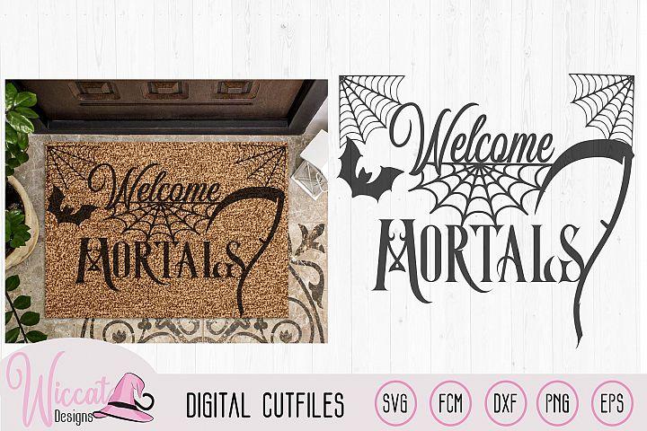 Welcome mortals, doormat design, Halloween quote,