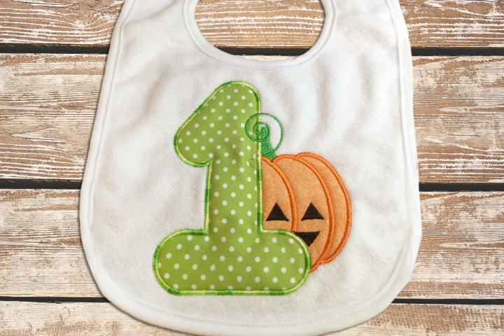 First Halloween Pumpkin Applique Embroidery Design