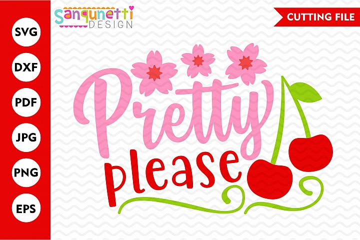 Pretty please cherry svg, fruit cutting file