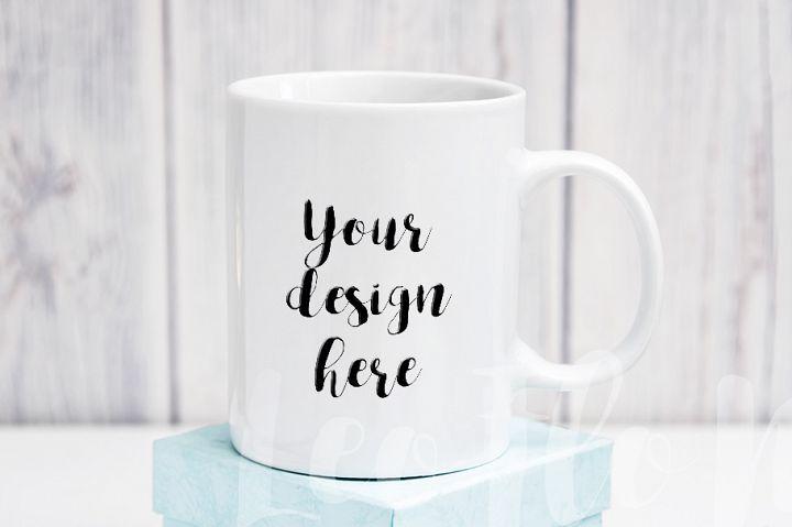 White coffee 11oz mug mockup rustic background