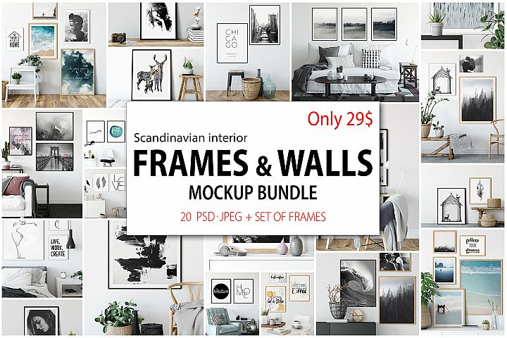 Scandinavian Interior Frames & Walls Mockup Bundle