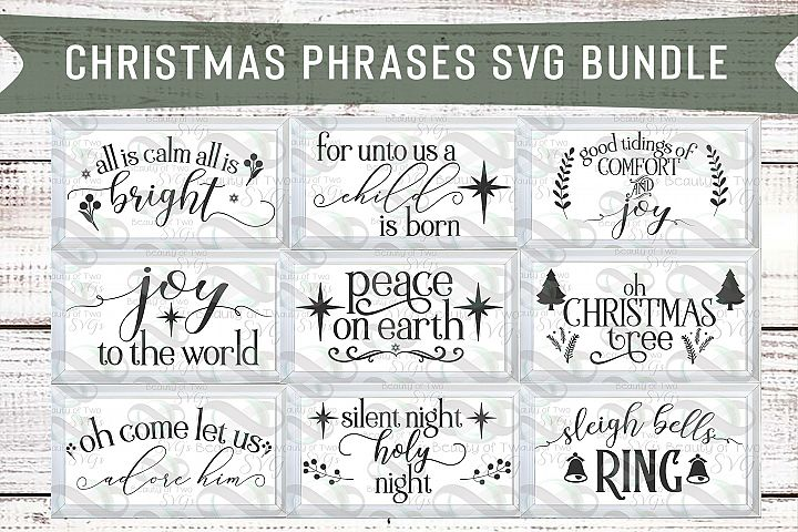 Christmas Phrases svg Sign Design bundle, 9 svg designs