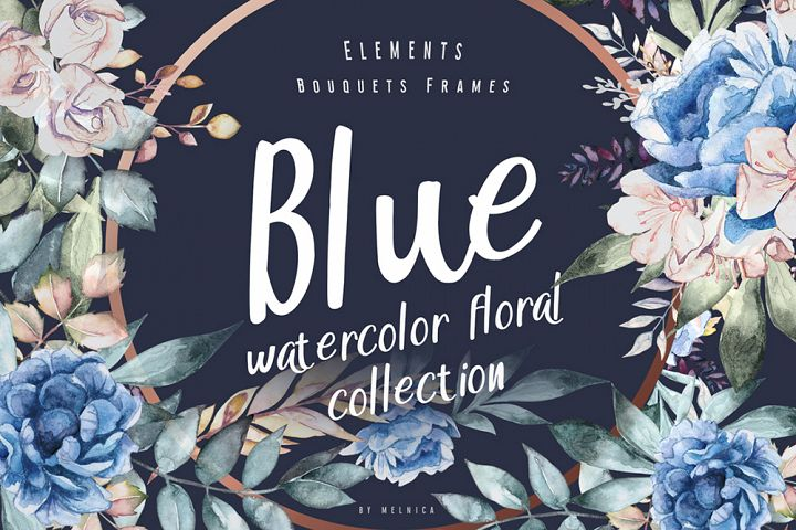 Blue - Floral Watercolor Collection