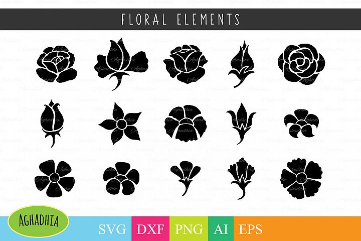 Flower Icon / Floral Element / Flower Buds / Flower Blossom SVG PNG DFX Ai and EPS
