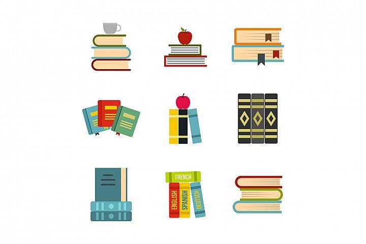 Kit of books icon set, flat style