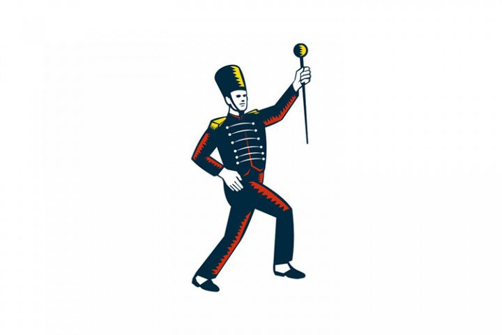 Drum Major Marching Band Leader Woodcut