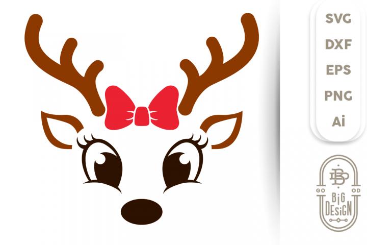 Girl Reindeer SVG - Cute Reindeer SVG , Reindeer Face Svg