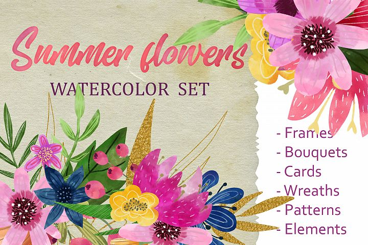 Watercolor flowers summer set of frames, elements, cards