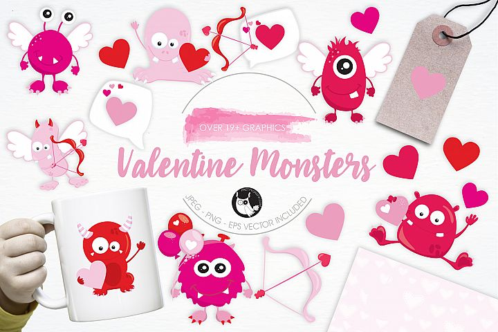 Valentine Monsters graphics and illustrations