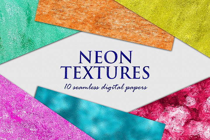 Neon Foil Backgrounds - 10 Seamless Neon Metallic Textures