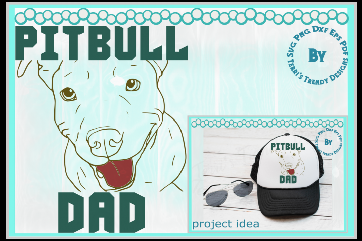 Pitbull dad svg png dxf eps pdf American terrier dog design