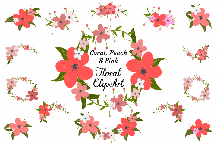 Coral Peach Pink Flower Clipart Floral Wreaths Swags Garland